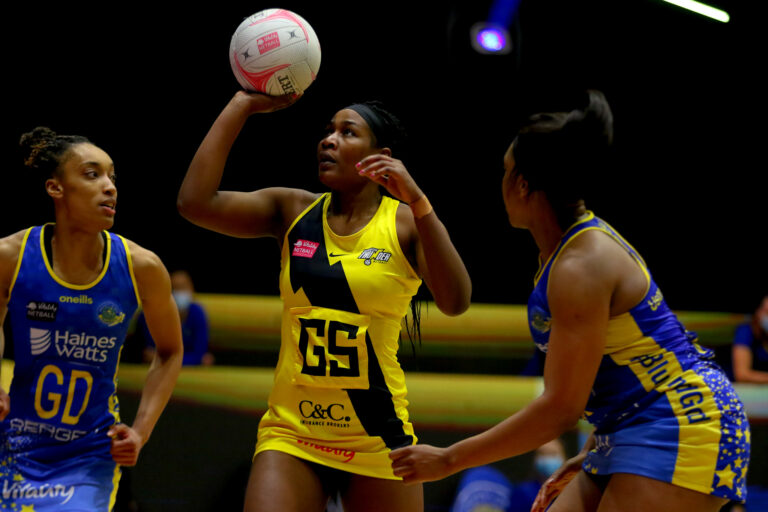 Joyce Mvula of Manchester Thunder during the Vitality Super League match between Team Bath and Manchester Thunder at Studio 001, Wakefield, England on 12th March 2021.
