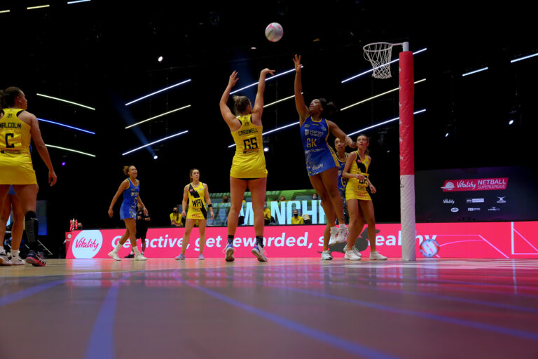 Action shot during the Vitality Super League match between Team Bath and Manchester Thunder at Studio 001, Wakefield, England on 12th March 2021.