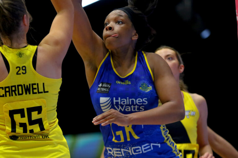 Eboni Usoro-Brown of Team Bath during the Vitality Super League match between Team Bath and Manchester Thunder at Studio 001, Wakefield, England on 12th March 2021.