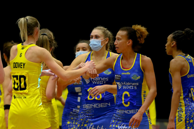 Celebrations during the Vitality Super League match between Team Bath and Manchester Thunder at Studio 001, Wakefield, England on 12th March 2021.