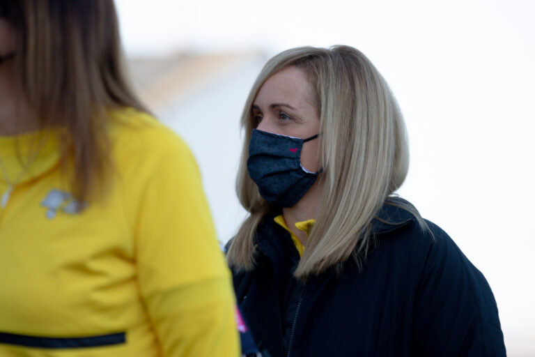 Tracey Neville during the Vitality Super League match between Severn Stars and Manchester Thunder at Studio 001, Wakefield, England on 28th February 2021.