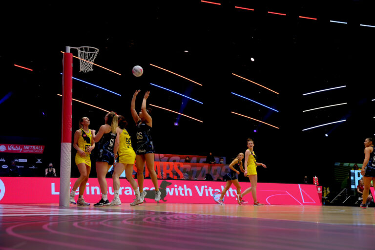Action shot during the Vitality Super League match between Severn Stars and Manchester Thunder at Studio 001, Wakefield, England on 28th February 2021.