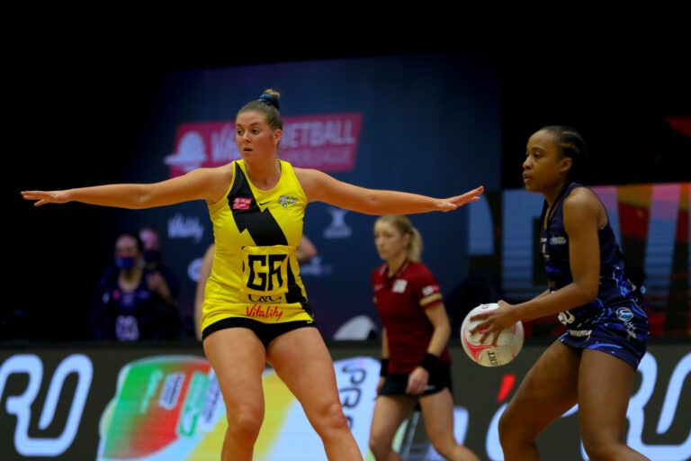 Eleanor Cardwell of Manchester Thunder during the Vitality Super League match between Severn Stars and Manchester Thunder at Studio 001, Wakefield, England on 28th February 2021.