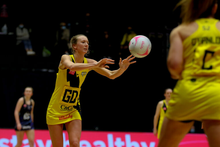 Emma Dovey of Manchester Thunder during the Vitality Super League match between Severn Stars and Manchester Thunder at Studio 001, Wakefield, England on 28th February 2021.