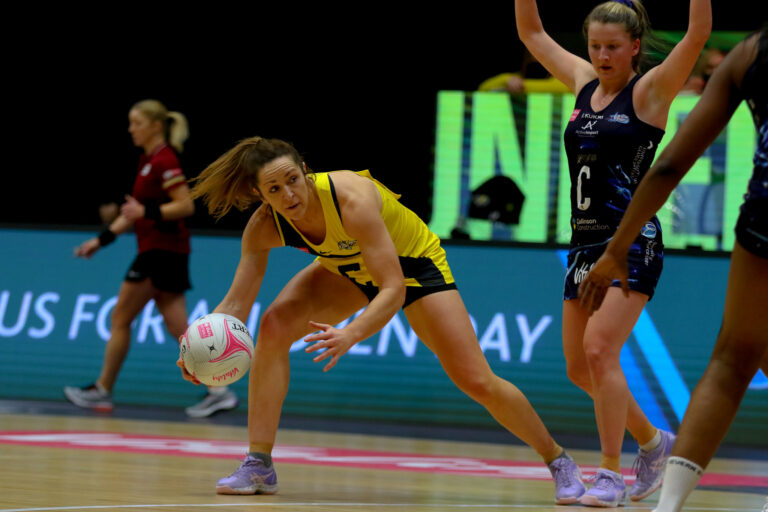 Caroline O'Hanlon of Manchester Thunder during the Vitality Super League match between Severn Stars and Manchester Thunder at Studio 001, Wakefield, England on 28th February 2021.