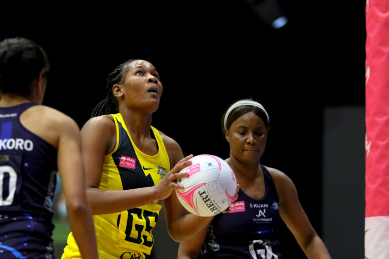Joyce Mvula of Manchester Thunder during the Vitality Super League match between Severn Stars and Manchester Thunder at Studio 001, Wakefield, England on 28th February 2021.