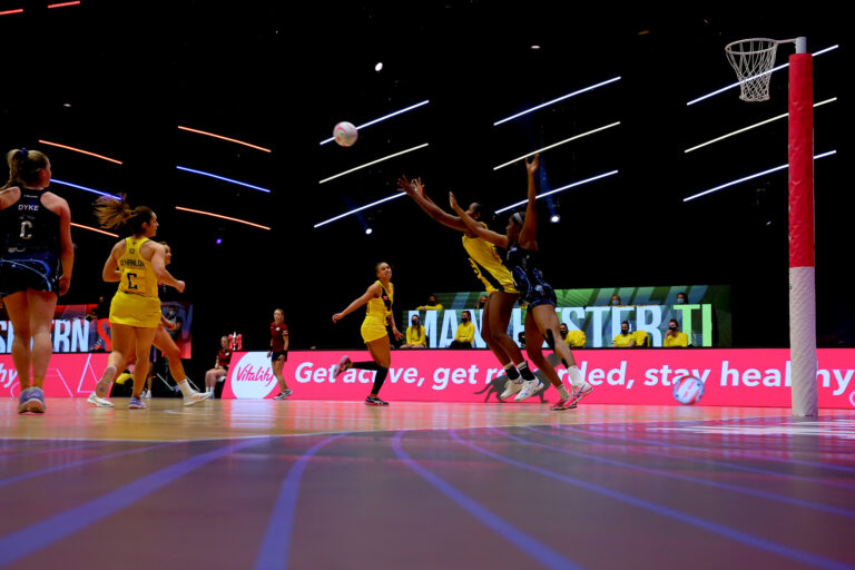 Action during the Vitality Super League match between Severn Stars and Manchester Thunder at Studio 001, Wakefield, England on 28th February 2021.
