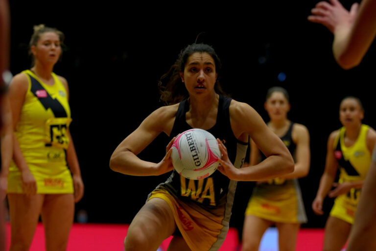 Sophia Candappa of Wasps Netball during the Vitality Super League match between Manchester Thunder and Wasps Netball at Studio 001, Wakefield, England on 13th March 2021.