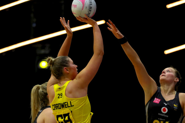 Eleanor Cardwell of Manchester Thunder during the Vitality Super League match between Manchester Thunder and Wasps Netball at Studio 001, Wakefield, England on 13th March 2021.