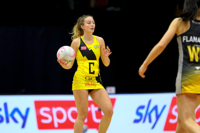 Amy Carter of Manchester Thunder during the Vitality Super League match between Manchester Thunder and Wasps Netball at Studio 001, Wakefield, England on 13th March 2021.