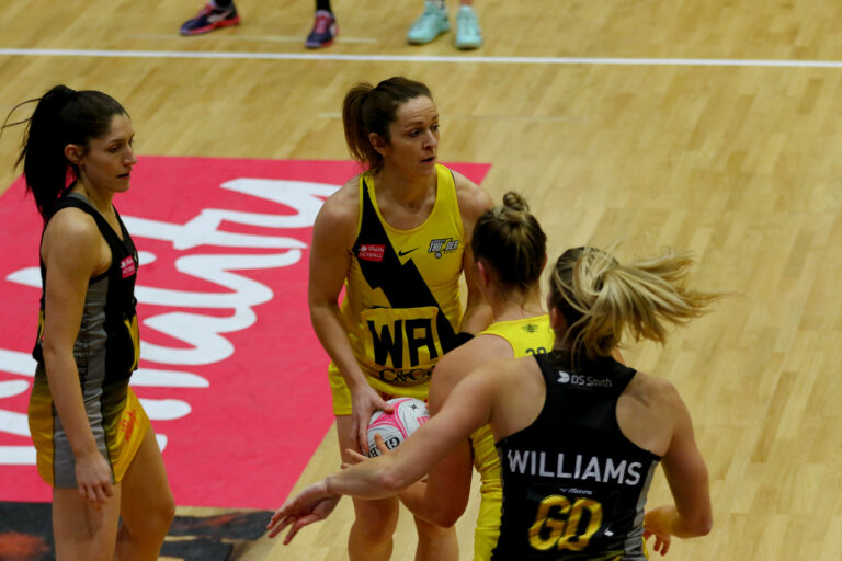 Caroline O'Hanlon of Manchester Thunder during the Vitality Super League match between Manchester Thunder and Wasps Netball at Studio 001, Wakefield, England on 13th March 2021.