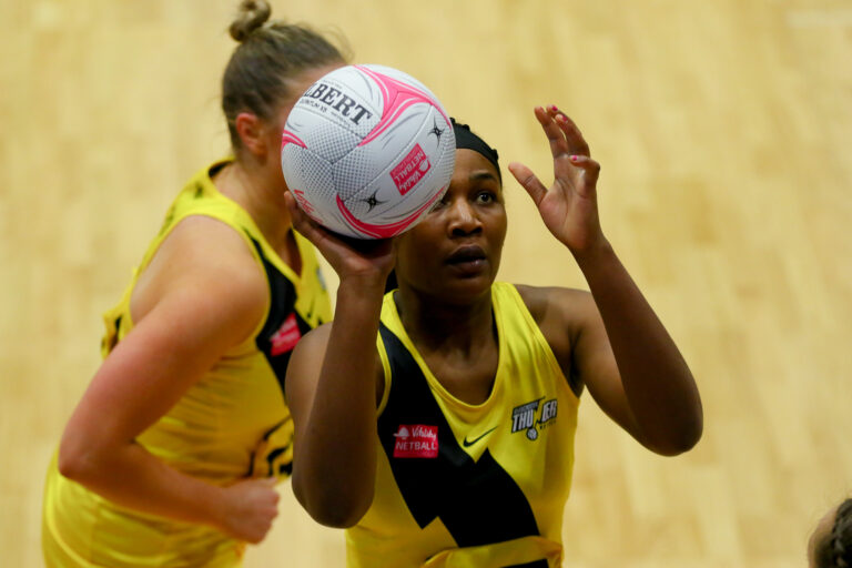 Joyce Mvula of Manchester Thunder during the Vitality Super League match between Manchester Thunder and Wasps Netball at Studio 001, Wakefield, England on 13th March 2021.