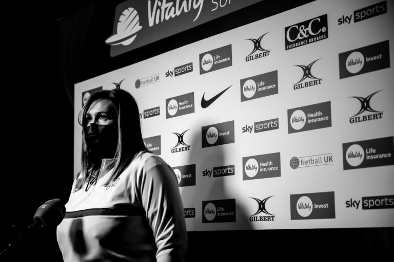 Karen Greig, Coach of Manchester Thunder during the Vitality Super League match between Manchester Thunder and Wasps Netball at Studio 001, Wakefield, England on 13th March 2021.