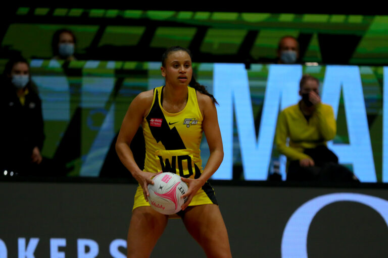 Laura Malcolm of Manchester Thunder during the Vitality Super League match between Manchester Thunder and Wasps Netball at Studio 001, Wakefield, England on 13th March 2021.