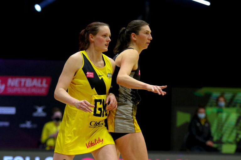 Action shot during the Vitality Super League match between Manchester Thunder and Wasps Netball at Studio 001, Wakefield, England on 13th March 2021.