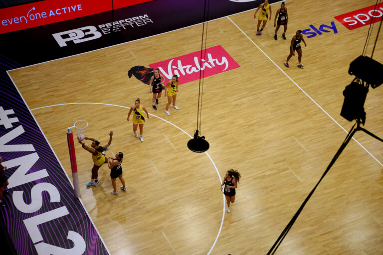 Action shot during the Vitality Super League match between Saracens Mavericks and Manchester Thunder at Studio 001, Wakefield, England on 5th April 2021.