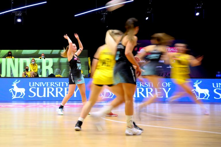 Action shot during the Vitality Super League match between Surrey Storm and Manchester Thunder at Studio 001, Wakefield, England on 11th April 2021.