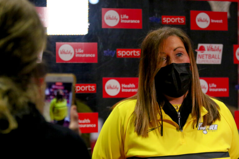 Interviews during the Vitality Super League match between Manchester Thunder and Loughborough Lightning at Studio 001, Wakefield, England on 4th April 2021.