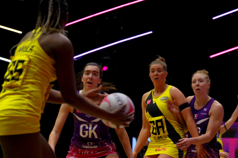 Action shot during the Vitality Super League match between Manchester Thunder and Loughborough Lightning at Studio 001, Wakefield, England on 4th April 2021.