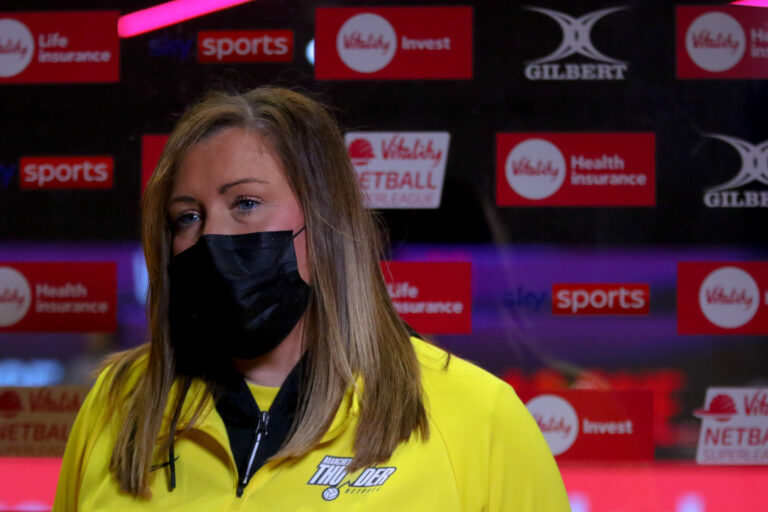 Interviews during the Vitality Super League match between Manchester Thunder and Leeds Rhinos at Studio 001, Wakefield, England on 28th March 2021.