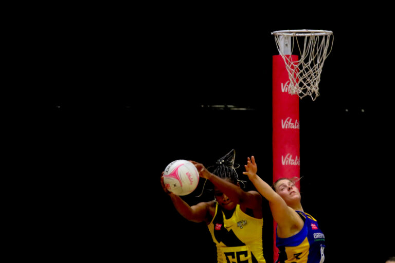Action shot during the Vitality Super League match between Manchester Thunder and Leeds Rhinos at Studio 001, Wakefield, England on 28th March 2021.