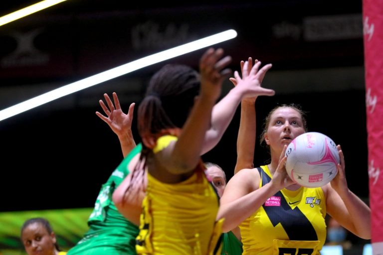 during Vitality Super League match between Celtic Dragons and Manchester Thunder at Copper Box Arena, London, England on 9th May 2021.