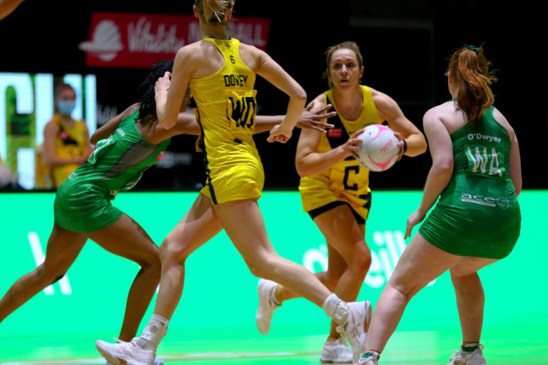 Action shot during Vitality Super League match between Celtic Dragons and Manchester Thunder at Copper Box Arena, London, England on 9th May 2021.