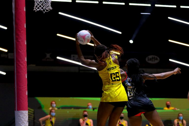 Action shot during Vitality Super League match between Manchester Thunder and Saracen Mavericks at Copper Box Arena, London, England on 16th May 2021.
