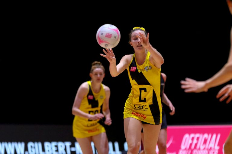 Amy Carter of Manchester Thunder during Vitality Super League match between Manchester Thunder and Saracen Mavericks at Copper Box Arena, London, England on 16th May 2021.