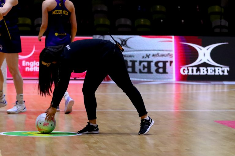 Warm up during Vitality Super League match between Wasps Netball and Manchester Thunder at Copper Box Arena, London, England on 17th May 2021.