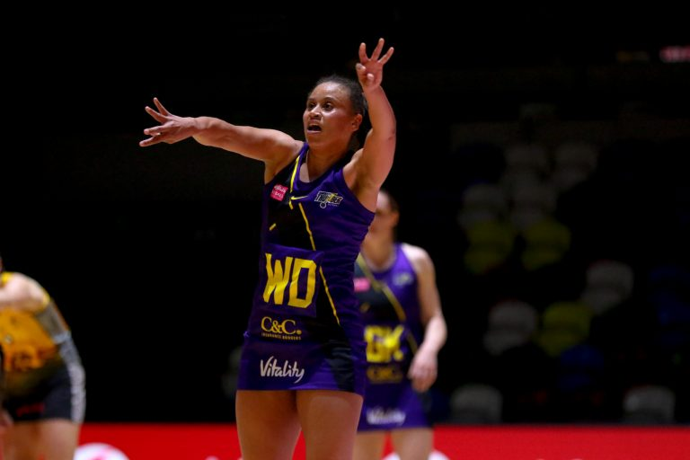 Laura Malcolm of Manchester Thunder during Vitality Super League match between Wasps Netball and Manchester Thunder at Copper Box Arena, London, England on 17th May 2021.