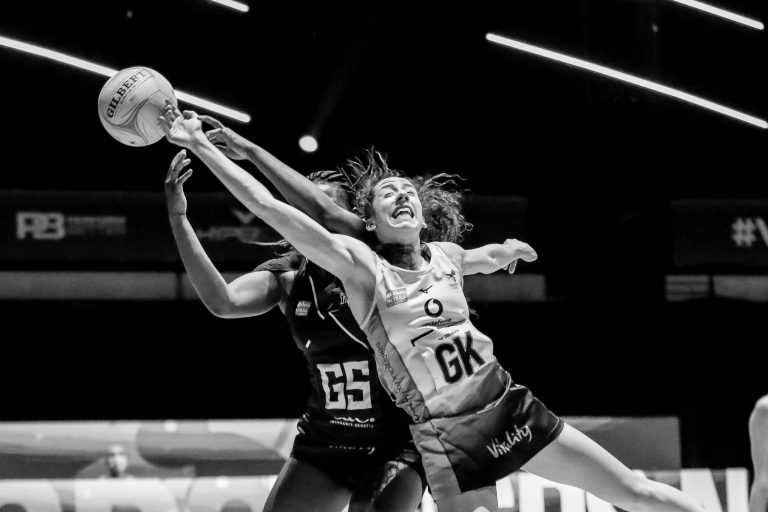 Hannah Leighton of Wasps Netball during Vitality Super League match between Wasps Netball and Manchester Thunder at Copper Box Arena, London, England on 17th May 2021.