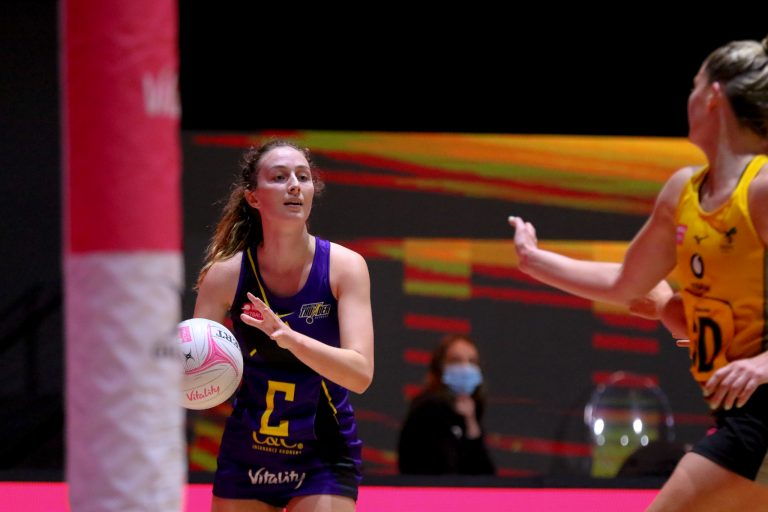 Amy Carter of Manchester Thunder during Vitality Super League match between Wasps Netball and Manchester Thunder at Copper Box Arena, London, England on 17th May 2021.