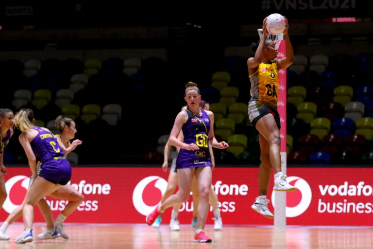 Gezelle Allison of Wasps Netball during Vitality Super League match between Wasps Netball and Manchester Thunder at Copper Box Arena, London, England on 17th May 2021.