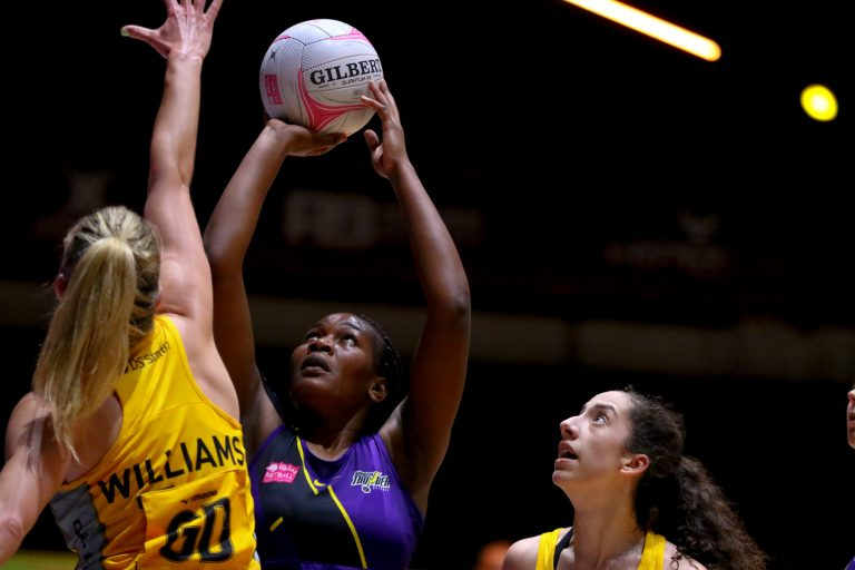 Action shot during Vitality Super League match between Wasps Netball and Manchester Thunder at Copper Box Arena, London, England on 17th May 2021.