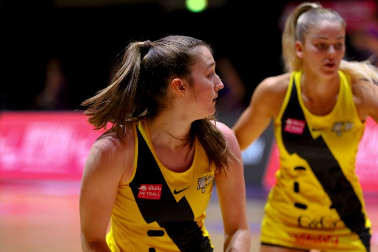 Warm up during Vitality Super League match between Loughborough Lightning and Manchester Thunder at Copper Box Arena, London, England on 14th June 2021.