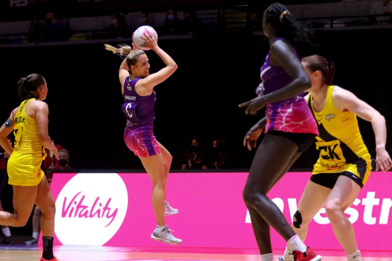 Natalie Panagarry of Loughborough Lightning during Vitality Super League match between Loughborough Lightning and Manchester Thunder at Copper Box Arena, London, England on 14th June 2021.