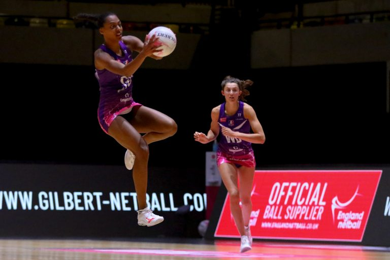 Jasmin Odeogberin of Loughborough Lightning during Vitality Super League match between Loughborough Lightning and Manchester Thunder at Copper Box Arena, London, England on 14th June 2021.