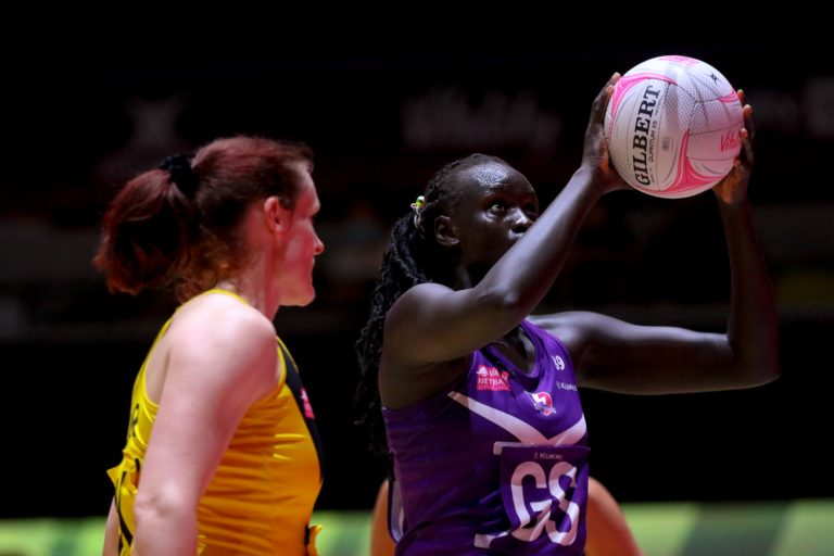 Mary Cholhok (UG) of Loughborough Lightning during Vitality Super League match between Loughborough Lightning and Manchester Thunder at Copper Box Arena, London, England on 14th June 2021.