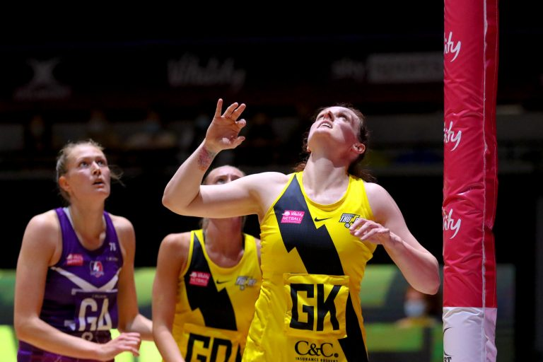 Kerry Almond of Manchester Thunder during Vitality Super League match between Loughborough Lightning and Manchester Thunder at Copper Box Arena, London, England on 14th June 2021.