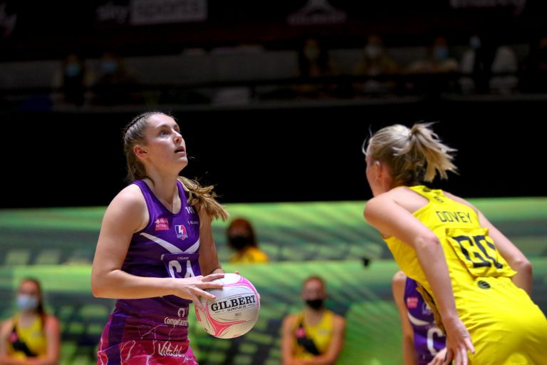Action shot during Vitality Super League match between Loughborough Lightning and Manchester Thunder at Copper Box Arena, London, England on 14th June 2021.