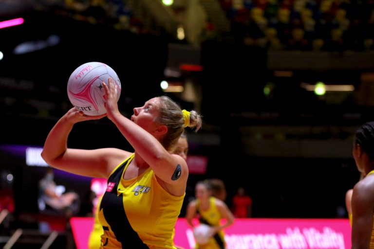 Warm up during Vitality Super League match between Manchester Thunder and Strathclyde Sirens at Copper Box Arena, London, England on 20th June 2021.