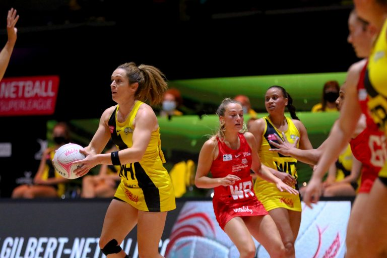 Caroline O'Hanlon of Manchester Thunder during Vitality Super League match between Manchester Thunder and Strathclyde Sirens at Copper Box Arena, London, England on 20th June 2021.