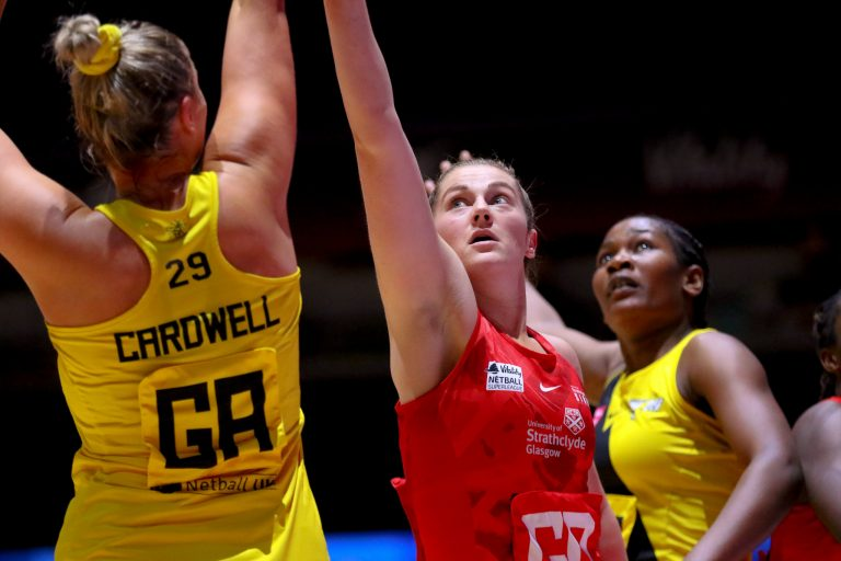 Emily Nicholl of Strathclyde Sirens during Vitality Super League match between Manchester Thunder and Strathclyde Sirens at Copper Box Arena, London, England on 20th June 2021.