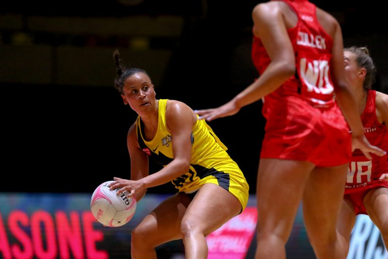 Laura Malcolm of Manchester Thunder during Vitality Super League match between Manchester Thunder and Strathclyde Sirens at Copper Box Arena, London, England on 20th June 2021.