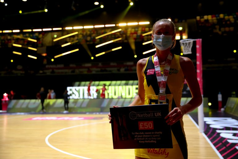 Player of the Match, Emma Dovey of Manchester Thunder during Vitality Super League match between Manchester Thunder and Strathclyde Sirens at Copper Box Arena, London, England on 20th June 2021.