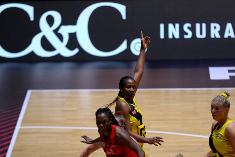 Action shot during Vitality Super League match between Manchester Thunder and Strathclyde Sirens at Copper Box Arena, London, England on 20th June 2021.