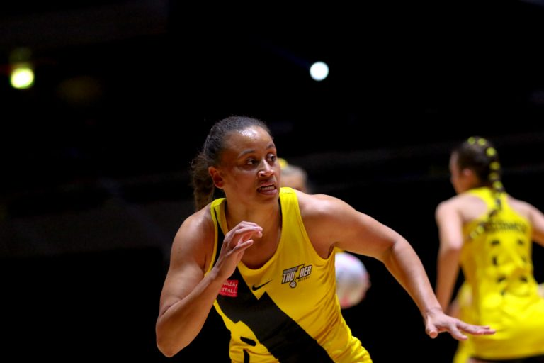 Warm up  during Vitality Super League match between Manchester Thunder and Severn Stars at Copper Box Arena, London, England on 29th May 2021.