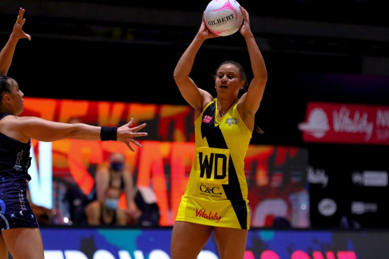 Action shot during Vitality Super League match between Manchester Thunder and Severn Stars at Copper Box Arena, London, England on 29th May 2021.