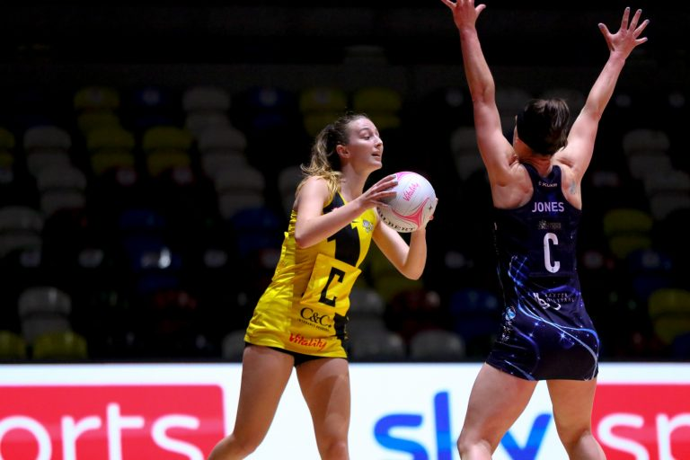 Amy Carter of Manchester Thunder during Vitality Super League match between Manchester Thunder and Severn Stars at Copper Box Arena, London, England on 29th May 2021.